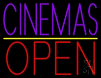 Purple Cinemas Open LED Neon Sign