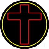 Red Christian Cross Neon Sign