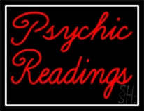 Red Cursive Psychic Readings With White Border Neon Sign