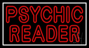 Red Double Stroke Psychic Reader White Border Neon Sign