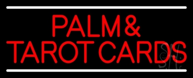 Red Palm And Tarot Cards Block With White Line LED Neon Sign