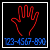Red Palm Blue Phone Number White Border Neon Sign