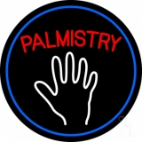 Red Palmistry Blue Border Neon Sign