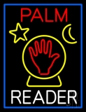 Red Palm White Reader With Crystal Neon Sign