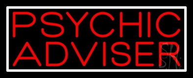 Red Psychic Advisor White Border Neon Sign