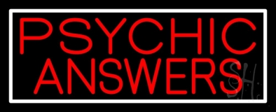 Red Psychic Answers With White Border Neon Sign