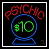Red Psychic Blue Crystal Globe And White Border Neon Sign