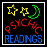 Red Psychic Blue Readings White Border Neon Sign