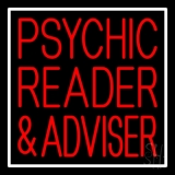 Red Psychic Reader And Advisor With Border Neon Sign