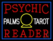 Red Psychic Reader White Palms Tarot Neon Sign