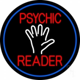 Red Psychic Reader White Palm And Blue Border Neon Sign