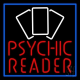 Red Psychic Reader With Cards Neon Sign