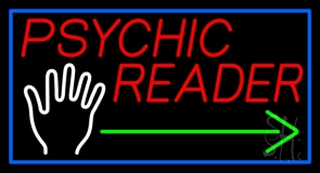 Red Psychic Reader With Green Arrow Palm Neon Sign