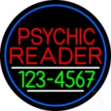 Red Psychic Reader With Green Phone Number And Blue Border Neon Sign