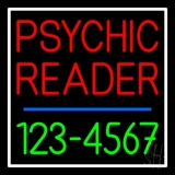 Red Psychic Reader With Green Phone Number Neon Sign