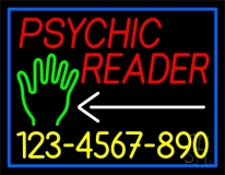 Red Psychic Reader With Yellow Phone Number With Blue Border Neon Sign