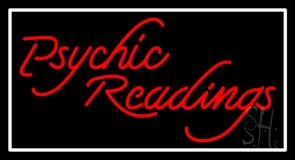 Red Psychic Readings And Blue Border Neon Sign
