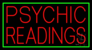 Red Psychic Readings Green Border Neon Sign