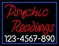 Red Psychic Readings With White Phone Number Neon Sign