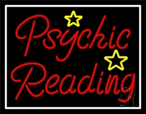 Red Psychic Reading With Stars Neon Sign