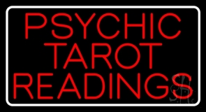 Red Psychic Tarot Readings Block With Border LED Neon Sign