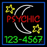 Red Psychic White Logo Green Phone Number Neon Sign