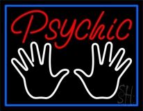 Red Psychic White Palms And Blue Border Neon Sign