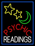 Red Psychic White Readings Blue Border Neon Sign
