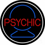 Red Psychic With Crystal White Border Neon Sign