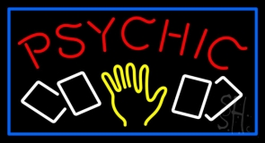 Red Psychic With Logo And Blue Border Neon Sign