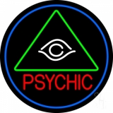 Red Psychic With Logo Blue Border Neon Sign