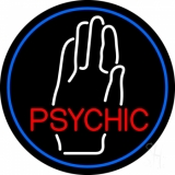 Red Psychic With White Palm Blue Border Neon Sign