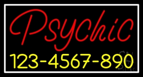 Red Psychic With Yellow Phone Number Neon Sign