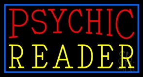 Red Psychic Yellow Reader With Border Neon Sign