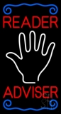 Red Reader Adviser With Palm Neon Sign