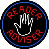 Red Reader Advisor And White Palm Blue Border Neon Sign
