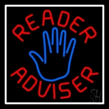 Red Reader Advisor White Border Neon Sign
