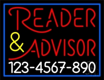 Red Reader Advisor With White Phone Number Neon Sign