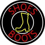 Red Shoes Boots White Border Neon Sign