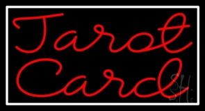 Red Tarot Card And White LED Neon Sign