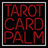 Red Tarot Card Palm And White Border LED Neon Sign