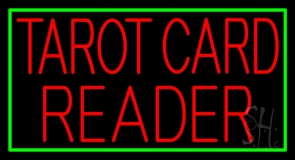 Red Tarot Card Reader Green Border LED Neon Sign