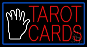 Red Tarot Cards White Palm LED Neon Sign