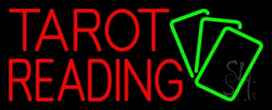 Red Tarot Reading Green Cards LED Neon Sign