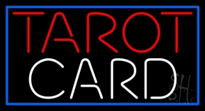 Red Tarot White Card And Blue Border LED Neon Sign