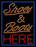 Shoes And Boots Here With Blue Border Neon Sign