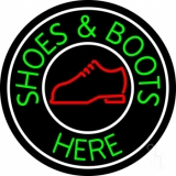 Shoes And Boots Here With White Border Neon Sign