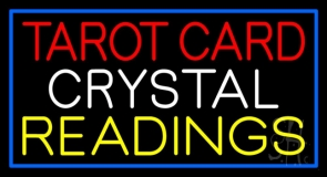 Tarot Card Crystal Readings With Blue Border LED Neon Sign