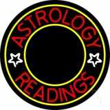 White Astrology Readings Yellow Border Neon Sign