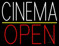 White Cinema Open LED Neon Sign